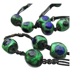 Antique Victorian PEACOCK EYE Venetian Foil Glass Bead Necklace