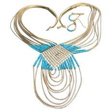 Liquid Sterling Silver Vermeil & Turquoise Vintage BIB Necklace & Earrings