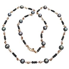 Honora 10mm Black Cultured Freshwater Pearl & Black Spinel Bronze Long Necklace