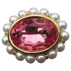 Signed NAPIER Vintage Pretty Pink Rhinestone Faux Pearl Pin
