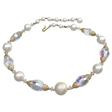 Beautiful Vintage Oval Crystal Bead & Faux Pearl Wedding Choker Necklace