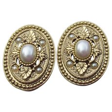 1928 Jewelry Co. Victorian Revival Faux Pearl Vintage Clip Earrings