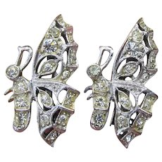 Pair of 1940's Retro Rhinestone Butterfly Scatter Pins