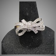 Sterling Silver & Cubic Zirconia Vintage BOW Ring, Size 6