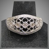 Sterling Silver & Diamond Open Work Band Ring, Size 9