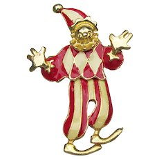 1980's Vintage Enameled & Articulated CLOWN Pin