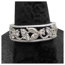 Pretty Sterling Silver CZ Flower Vine Open Work Band Ring, Size 7