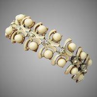 1950's Vintage CORO Wide Off-White Enamel & Cabochon Rhinestone Bracelet