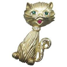 Signed BSK Vintage Kitty Cat Rhinestone Pin