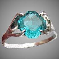 1970's Vintage Modernist Sterling Silver Caribbean Blue Quartz Ring. Size 7