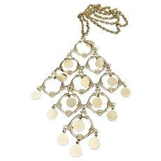 1960's Vintage Large Dangle Tassel Bib Necklace
