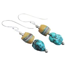 Hand-Made African Trade Bead & Turquoise Sterling Silver Artisan Earrings