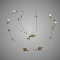 """1970's Vintage 58"""" Long Chain & Faux Pearl Bead Necklace"""