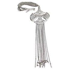 1960's Vintage Silver Tone Bead Long Tassel Medallion Necklace