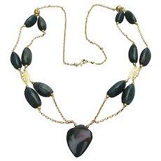 Bloodstone Jasper Long Gold Filled Double Strand Vintage Necklace