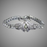 Gorgeous Vintage Art Deco DORSONS Sterling Silver Rhinestone Bracelet
