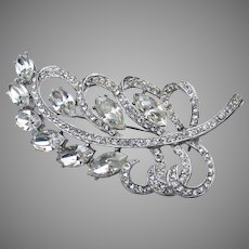 Signed WEISS 1960's Vintage Rhinestone Large LEAF Pin