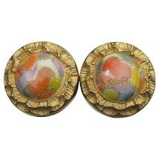 Venetian Art Glass Gold Tone Vintage Clip Button Earrings
