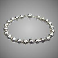 """Vintage Sterling Silver All Bead Bracelet, Size Large 7 3/4"""""""