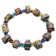 Artisan African Trade Venetian Art Glass Bead & Swarovski Crystal Stretch Bracelet #8