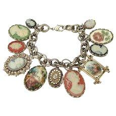 Designer Signed GRAZIANO 11 Cameo Charms Bracelet