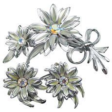 Large 1960's Vintage Silver Tone AB Rhinestone Daisy Corsage Flower Pin & Earrings Set