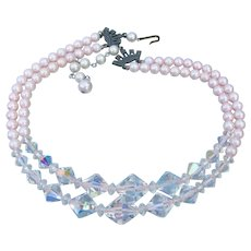 Vintage Double Strand PINK Glass Pearl & Crystal Bead Necklace