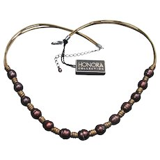Vintage HONORA Brown Ringed Cultured Freshwater Pearl & Leather Necklace, New With Tag