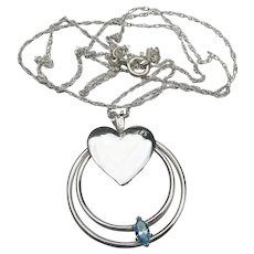Vintage 1980's Sterling Silver Floating Blue Topaz & Heart Necklace
