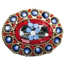 Vintage 1950's Mid Century Italian Oval Micro Mosaic Flower Pin