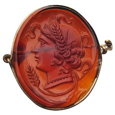 Antique Victorian Molded Carnelian Glass CAMEO Pin