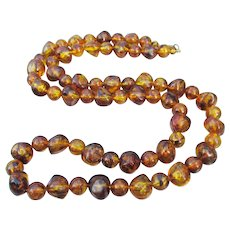 Retro 1940's Faux Honey Amber Lucite Bead Necklace
