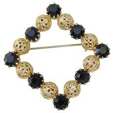 Vintage 1960's Black Rhinestone Gold Filigree Bead Pin