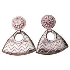 Big 1980's Doorknocker Silver Tone & Pink Enamel Clip Earrings