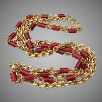 2 Strand 1960's Vintage Chains & Faux Amber Bead Necklace
