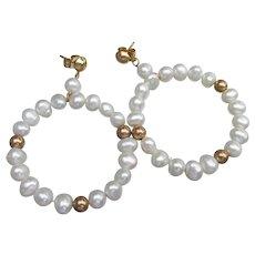 1980's Vintage 14k Gold & Cultured Pearl Hoop Dangle Earrings, NEW In Box!
