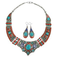 Spectacular Vintage Sterling Silver Turquoise, Coral, Lapis Collar Necklace & Dangle Earrings Set