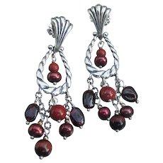 Carolyn Pollack Relios Vintage Sterling Silver Dangle Garnet Earrings