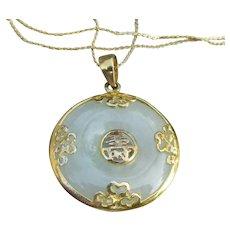 Gold on Sterling Silver Long Vintage JADE Necklace