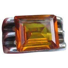 Sterling Silver 1970's Art Deco Revival Vintage Golden Topaz Ring, Size 6