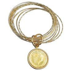Italian Vintage Gold Tone Bronze Bangles LIRA COIN Charm Bracelet