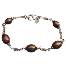 Signed HONORA Bronze Freshwater Cultured Pearl Bracelet, Size Small