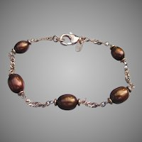 Signed HONORA Vintage Bronze Freshwater Cultured Pearl Bracelet, Mint In Box!