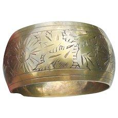 Nice BIG 1960's Vintage Indie Engraved Brass Bangle Bracelet