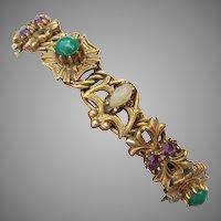 Signed FLORENZA Victorian Revival Vintage Rhinestone Bracelet