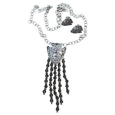 Carolyn Pollack Sterling Arrowhead & Smoky Quartz American West Necklace Earrings Set, MIB