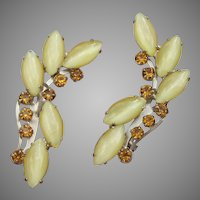 1960's Vintage Yellow Marquise Moon Glow Rhinestone Climber Clip Earrings