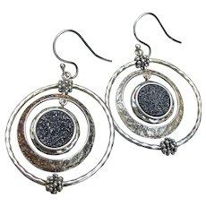 Michael Dawkins Vintage Sterling Silver DRUZY Hoop Dangle Earrings