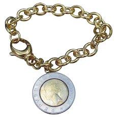 Milor Italy Gold on Bronze Vintage LIRA Coin Charm Bracelet