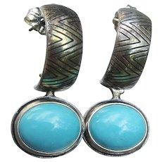 Carolyn Pollack Relios Vintage Turquoise Sterling Hoop Earrings, Reversible Bear Fetish
